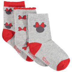 Juego de 3 pares de calcetines variados con motivos Minnie Disney de jacquard