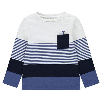 Marinera de algodón con rayas que contrastan y bolsillo tipo parche