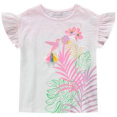 Camiseta de manga corta de punto con efecto tie and dye con pájaro estampado y pompones