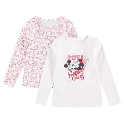 Juego de 2 camisetas interiores de punto de manga larga Mickey & Minnie ©Disney
