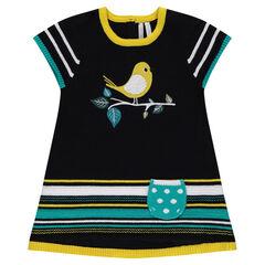 Vestido de manga corta de punto con pájaro de jacquard