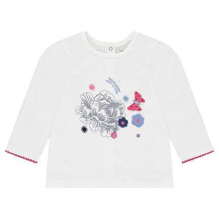 Camiseta de manga larga de jersey con flores estampadas y detalles bordados