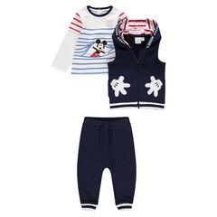 Chándal de 3 piezas con marinera con estampado de Mickey, chaleco con capucha y pantalón