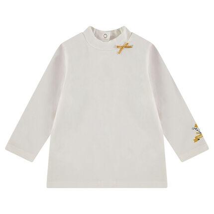 Camiseta de manga larga con cuello chimenea y motivo estampado