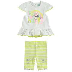 Conjunto con túnica con estampado de Minnie y leggings cortos de rayas