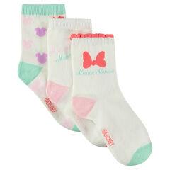 Juego de 3 pares de calcetines variados con motivos Disney de jacquard Minnie