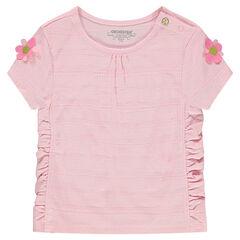 Camiseta de manga corta con fruncidos y flores en las mangas