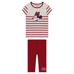 Conjunto con camiseta de rayas con estampado de ©Disney Minnie y leggings de punto