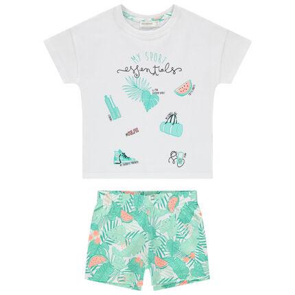 Pyjama en algodon bio con estampado tropical