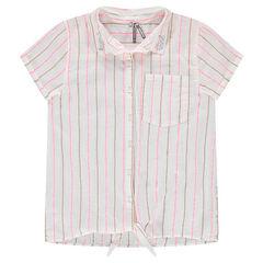 Júnior - Camisa de manga corta de rayas que se anuda por delante