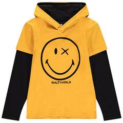 Júnior - Camiseta de manga larga con capucha bicolor y estampado Smiley