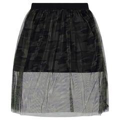 Júnior - Falda con doble largo y tul estampado de camuflaje