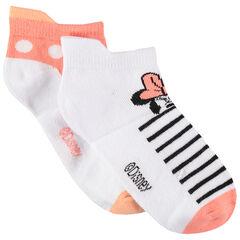 Juego de 2 pares de calcetines cortos de lunares/rayas con Minnie Disney