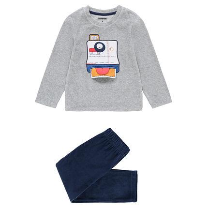 Pijama de terciopelo con cámara de fotos cosida y abertura