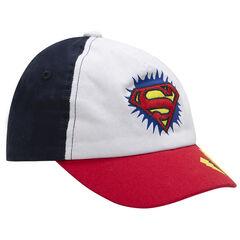 Gorra de sarga tricolor con logo ©Warner Superman bordado