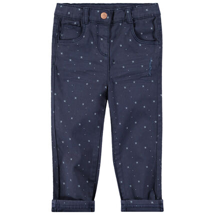 Pantalón de algodón con estrellas estampadas all over