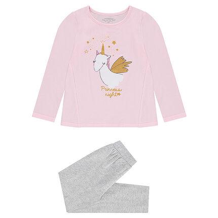 Pijama de punto con unicornio brillante estampado