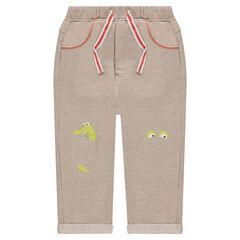 Pantalón de jogging de muletón jaspeado con parches y estampados en las rodillas