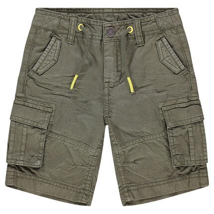 Bermudas de algodón teñido con bolsillos