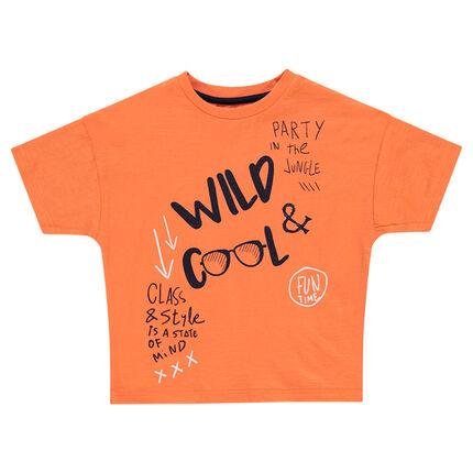 Camiseta de manga corta naranja con inscripciones estampadas