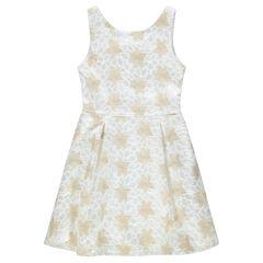 Júnior - Vestido de gala sin mangas de encaje con flores bordadas