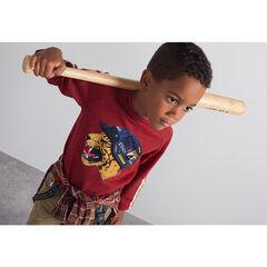 Camiseta de punto de manga larga con bandas y tigre estampado