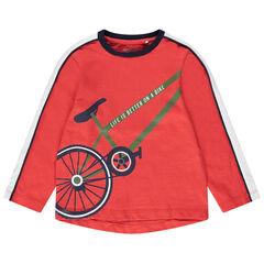 Camiseta de manga larga de punto coral con estampado de bicicleta