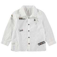 Camisa de manga larga de algodón con estampados de fantasía