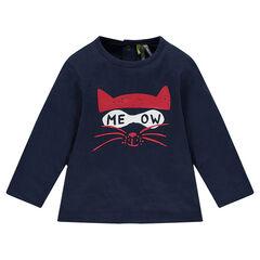 Camiseta de punto de manga larga con gato estampado