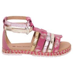 Sandalias de cuero de color rosa y dorado