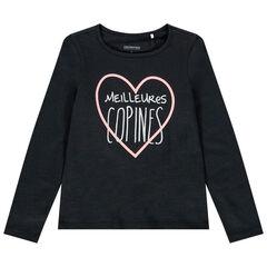 T-shirt manches longues à message pour enfant fille , Orchestra