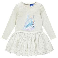 Vestido manga larga con estampado La Reina de las nieves Disney
