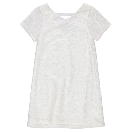 Vestido de manga corta de encaje con cuello en V