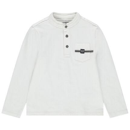 Polo de manga larga de algodón y cuello mao con bolsillo