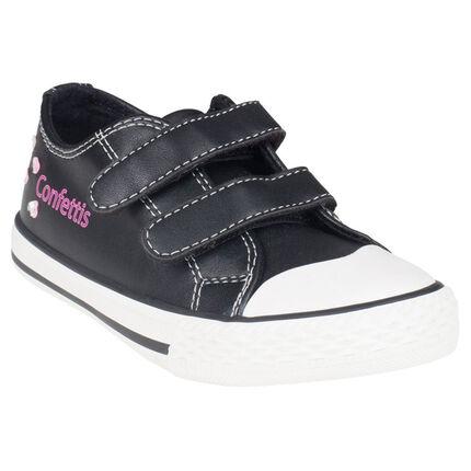 Zapatillas de deporte de cañas bajas con velcro de color negro