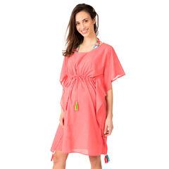 Vestido de playa con volantes y pompones de colores