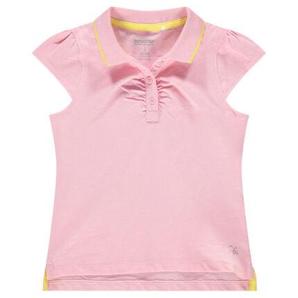 Polo de manga corta rosa con logo estampado