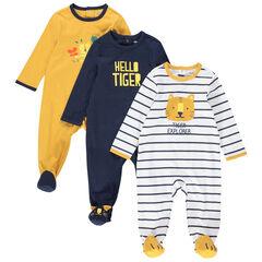 Juego de 3 pijamas de punto con tigres estampados