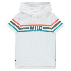 Júnior - Camiseta con capucha de manga corta y bandas que contrastan
