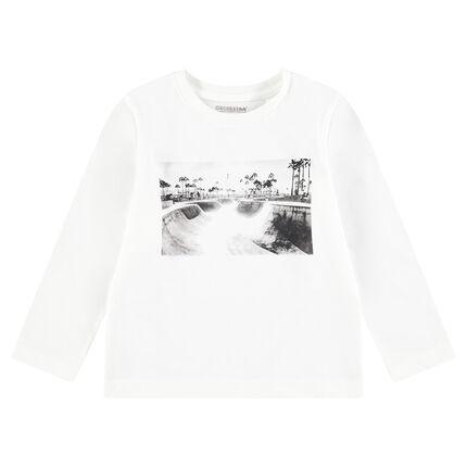 Camiseta de manga larga de punto con mensaje estampado y adhesivos de skate de fantasía