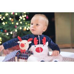 Conjunto de pijama de terciopelo de estilo navideño con gorro estampado