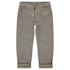 Pantalón de sarga lisa con forro de micropolar