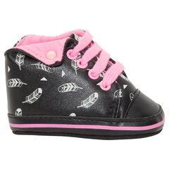 Zapatos de bebé abotinados con vuelta estampada de estrellas y cordones