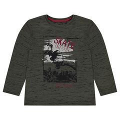 Júnior - Camiseta de punto con estampado de skate