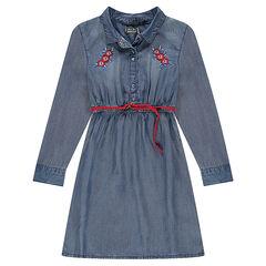Júnior - Vestido de Tencel con flores bordadas y cinturón