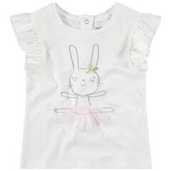 Camiseta de manga corta con volantes y estampado de conejo