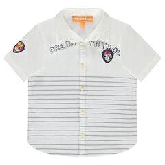 Camisa de manga corta de rayas con parches Paw Patrol