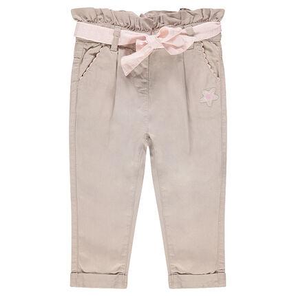 Pantalón de lyocell con fruncido en la cintura que se anuda