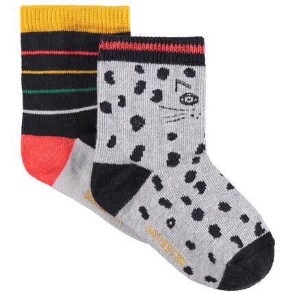 Juego de 2 pares de calcetines a rayas/con estampado de leopardo all-over
