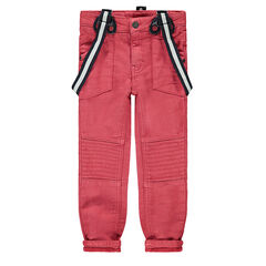 Pantalón de tela roja con efecto desgastado y tirantes desmontables elásticos